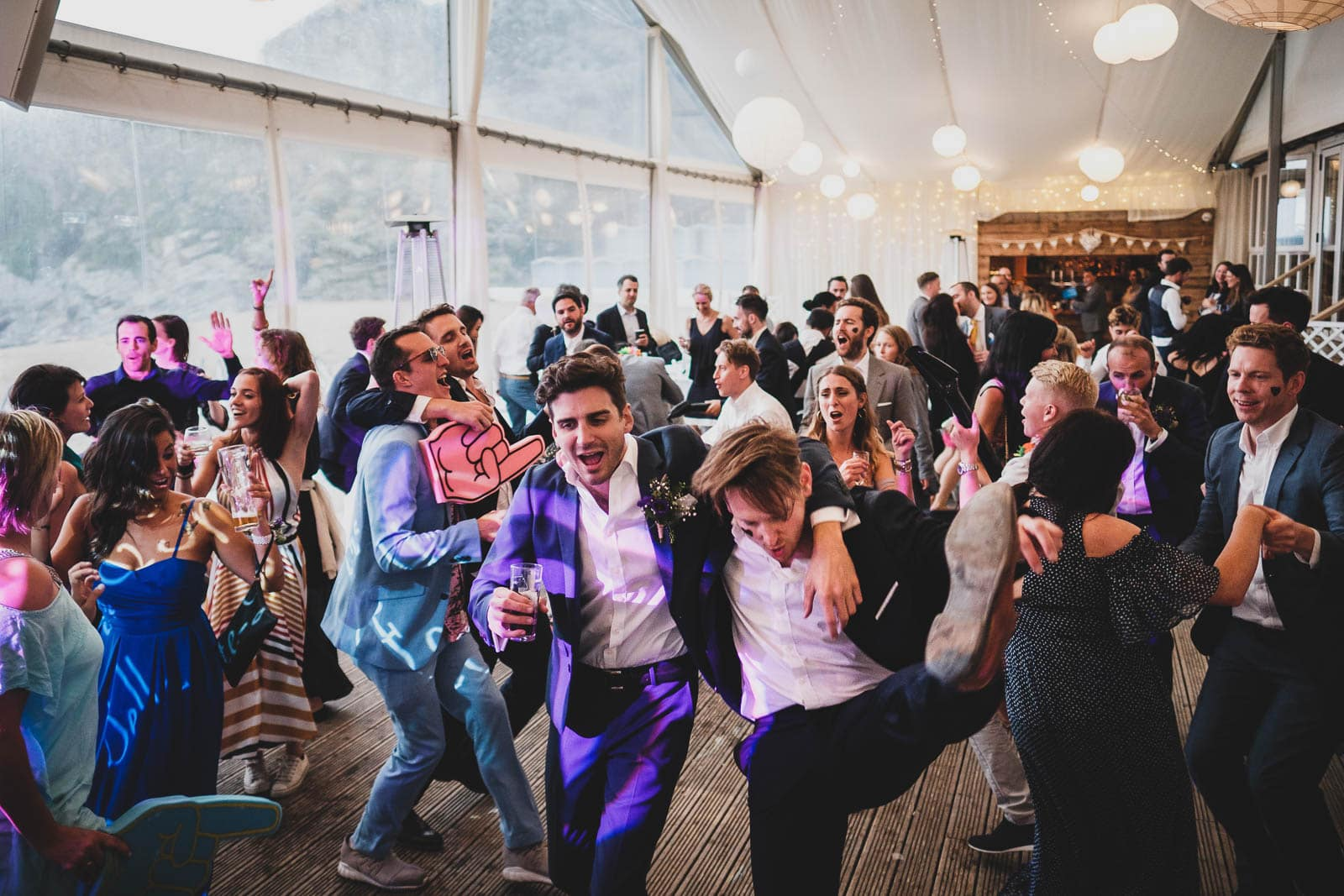 Crazy dancefloor action at a Lusty Glaze wedding