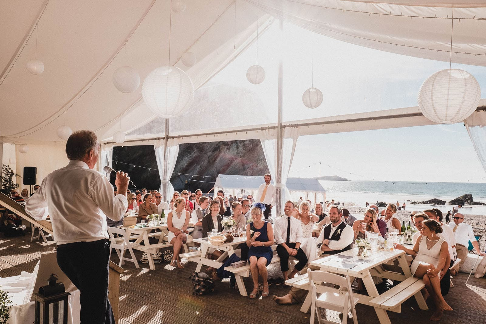 Lusty Glaze Wedding Speech in the marquee by the beach.