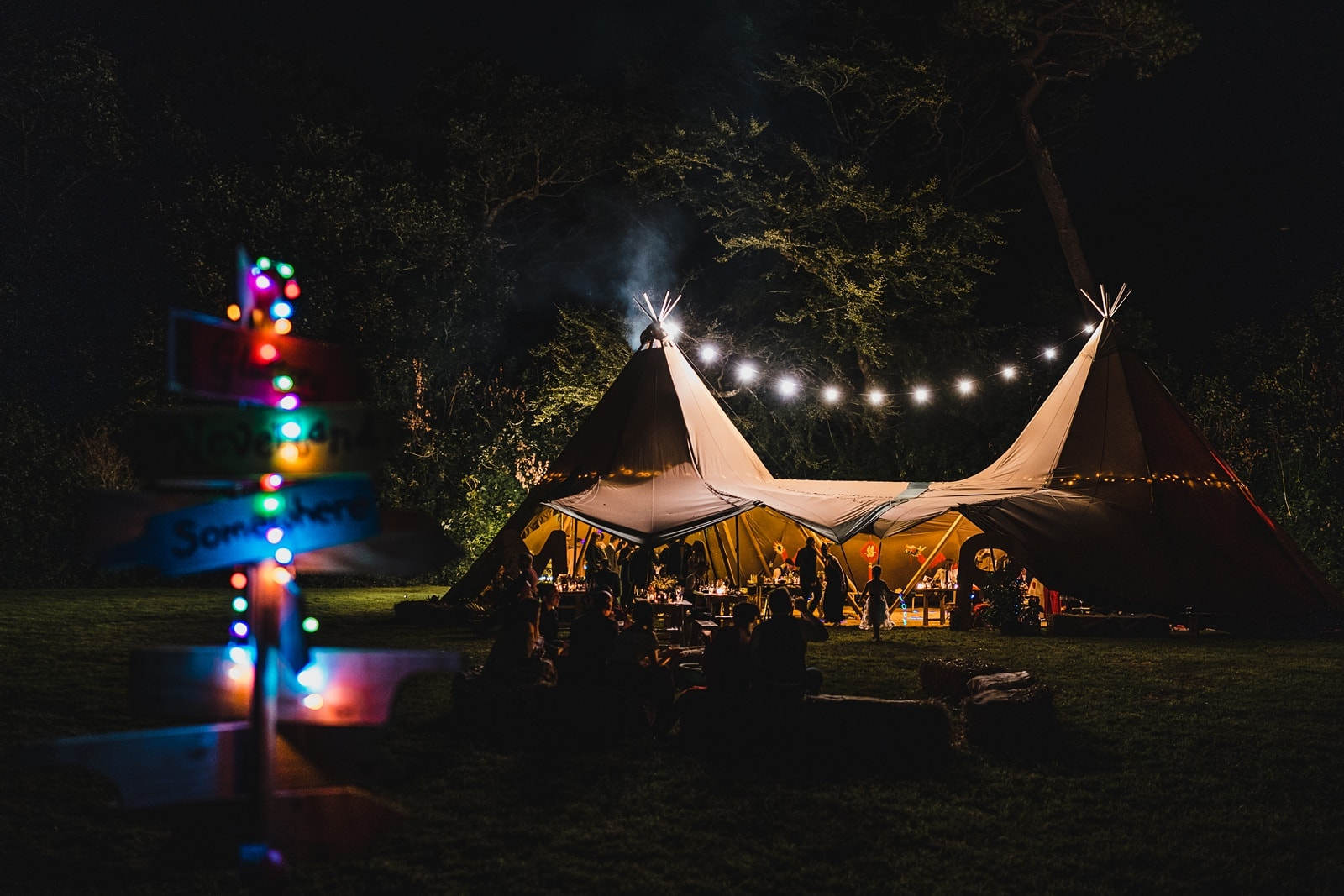 trefusis estate wedding tipi at night