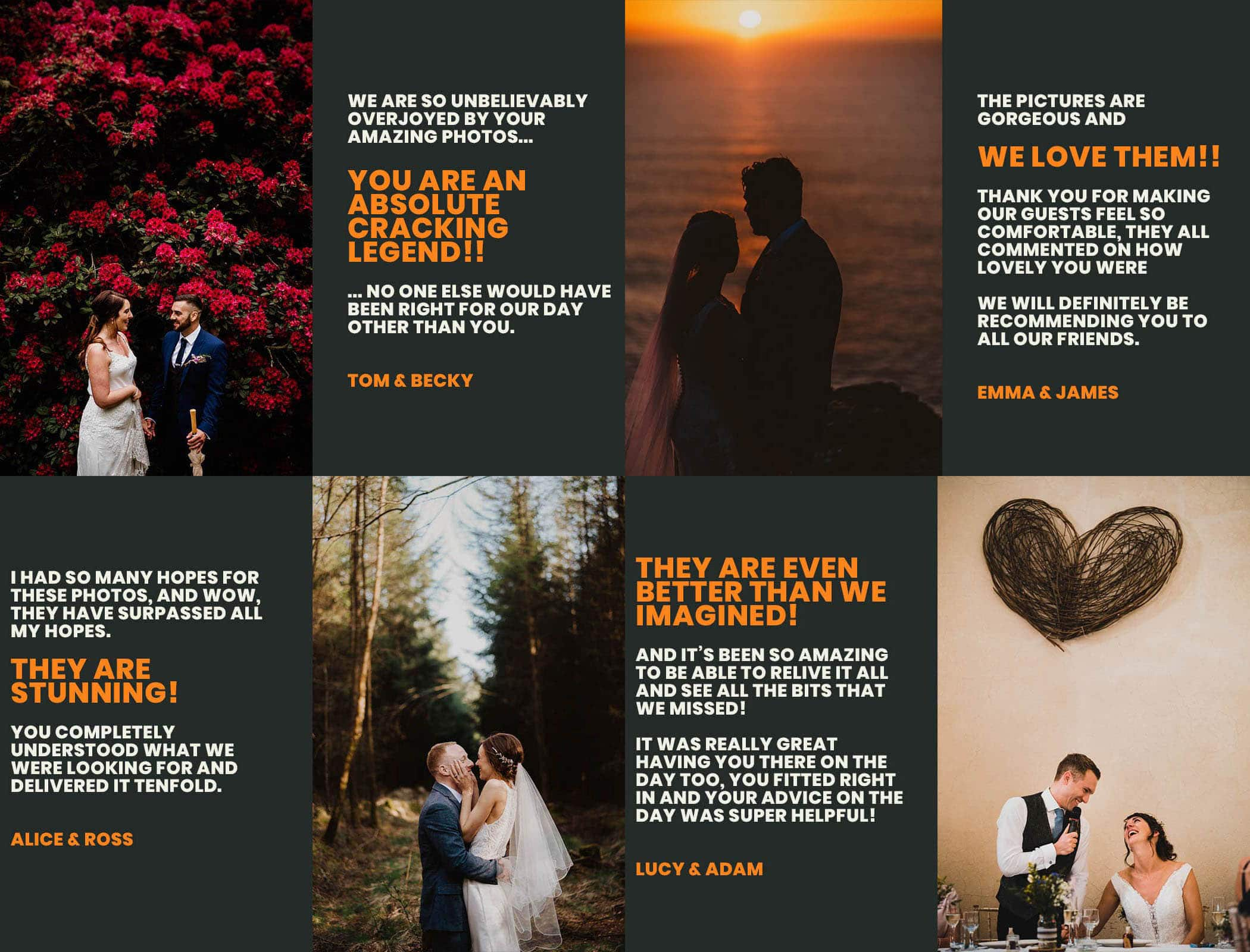 Great feedback for wedding photography