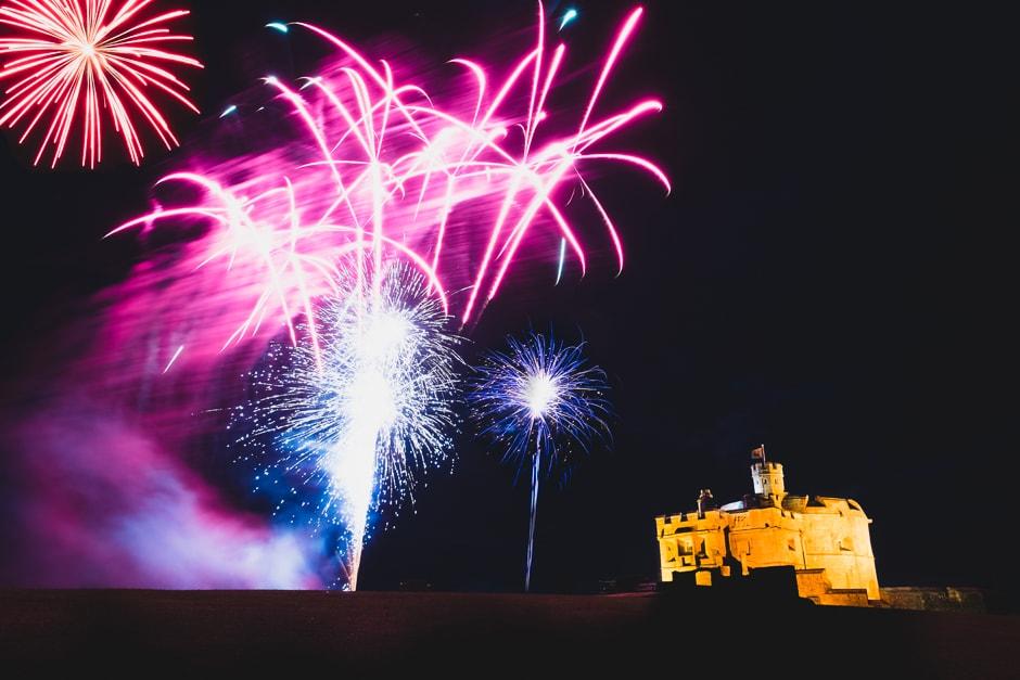 pendennis castle wedding fireworks