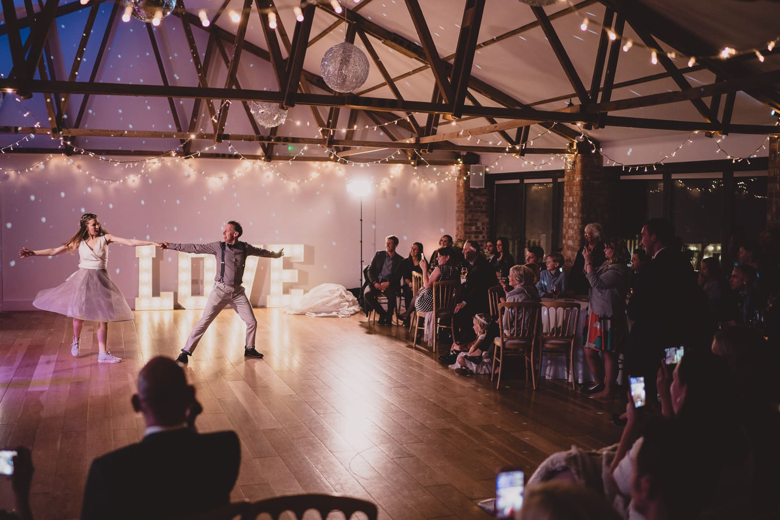 An extravagant first dance in The Red Brick Barn at The Green in Liskeard.
