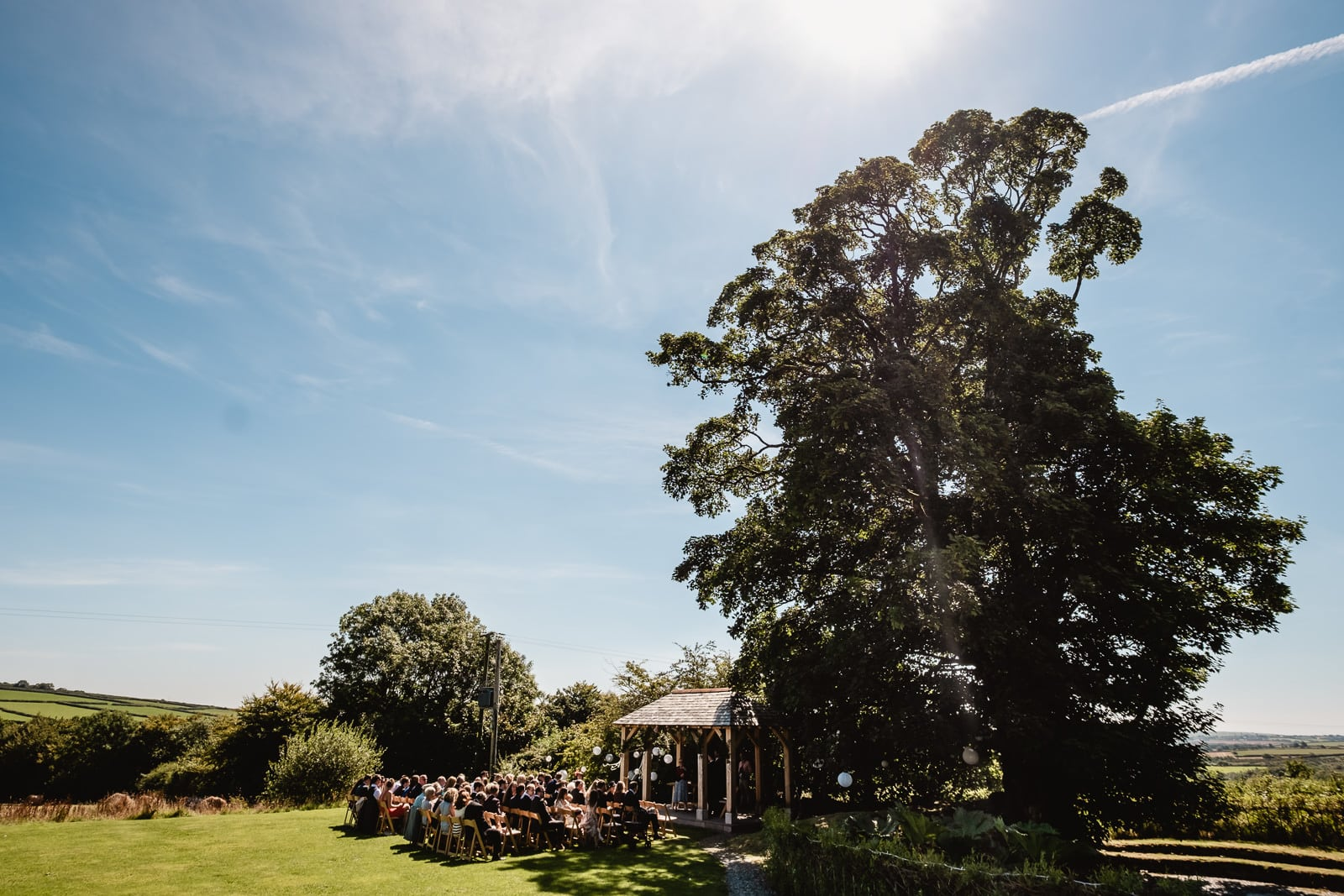 The outside arbour at Trevenna with a ceremony in full swing