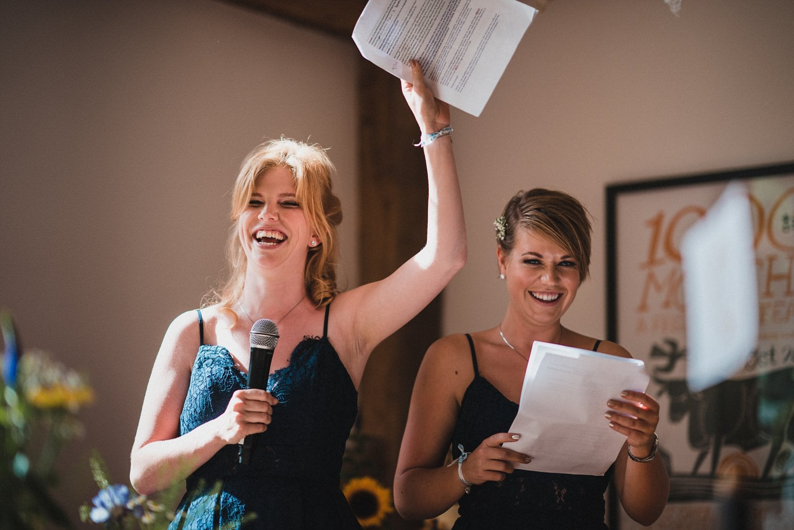 Bridesmaid's speeches at a wedding at Nancarrow Farm