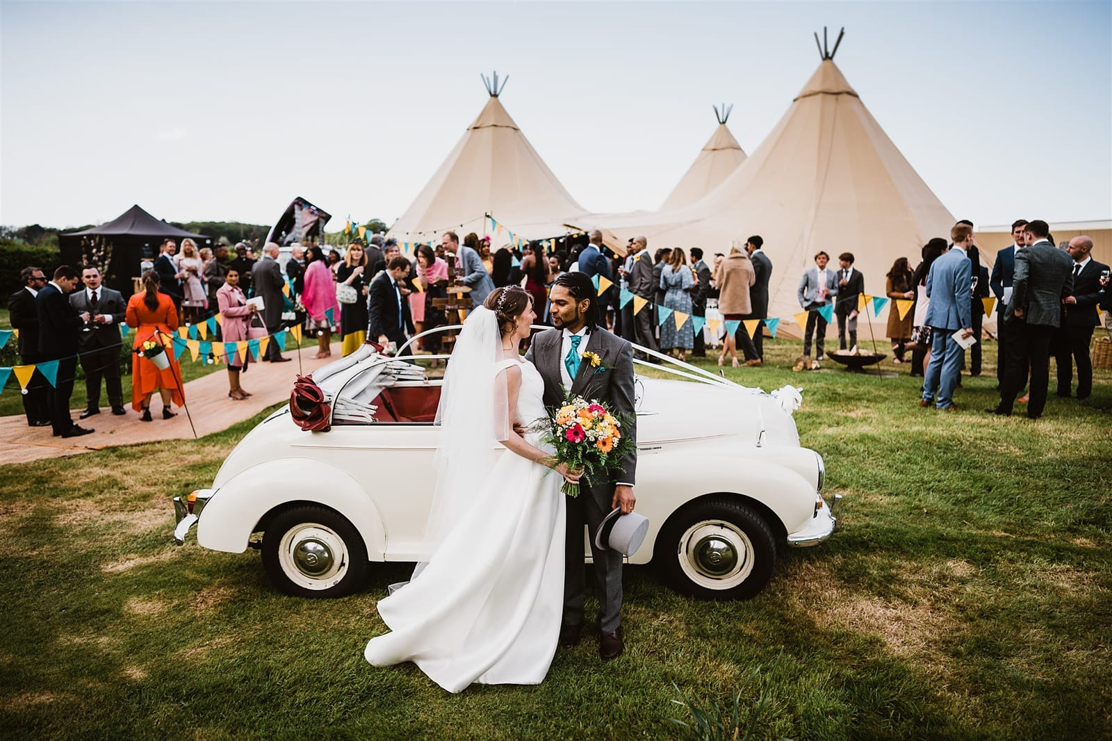 a big tipi garden wedding in Cornwall
