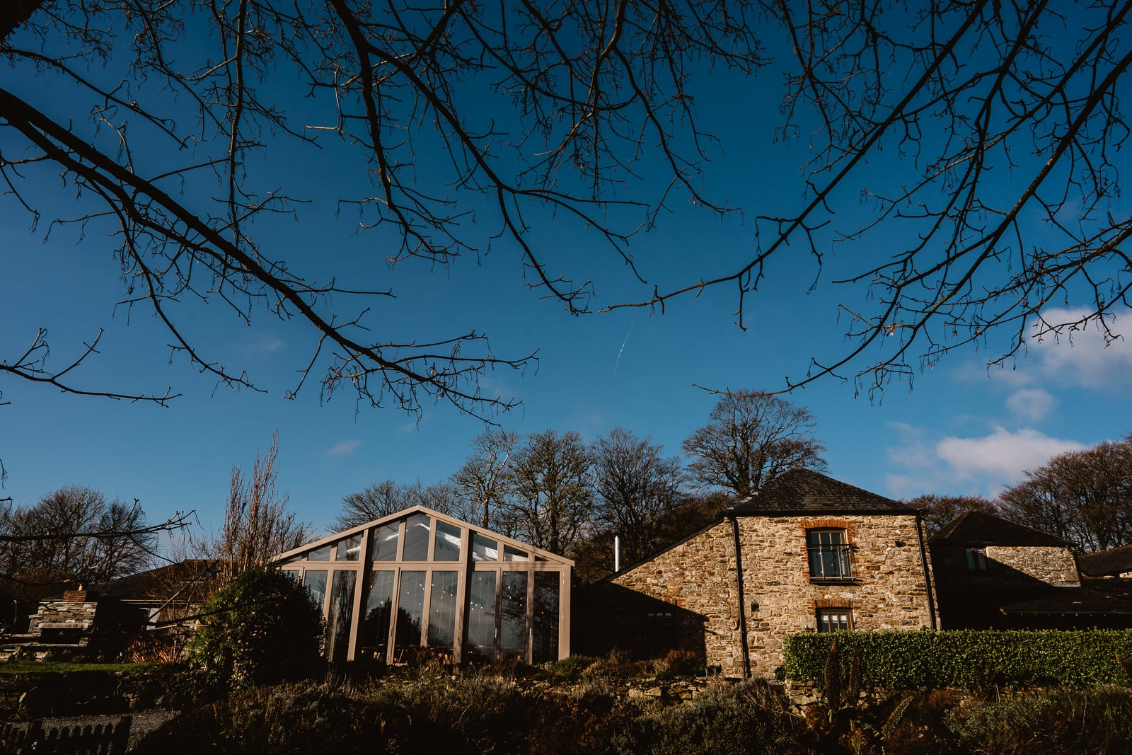 The Threshing Barn and Garden Venue room at Trevenna Barns Wedding Venue, in the early morning winter light