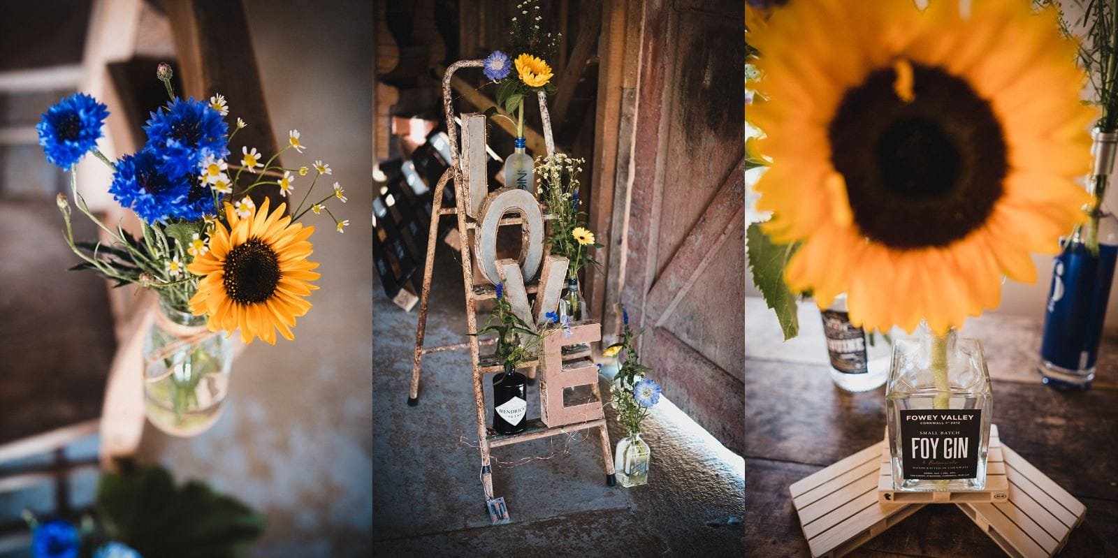Wedding decorations at Nancarrow Farm with sunflowers and vintage bottles