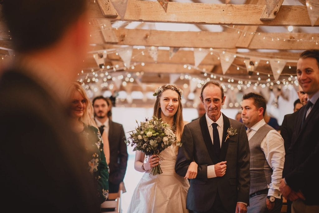A ceremony in the Wedding Barn at The Green, Cornwall