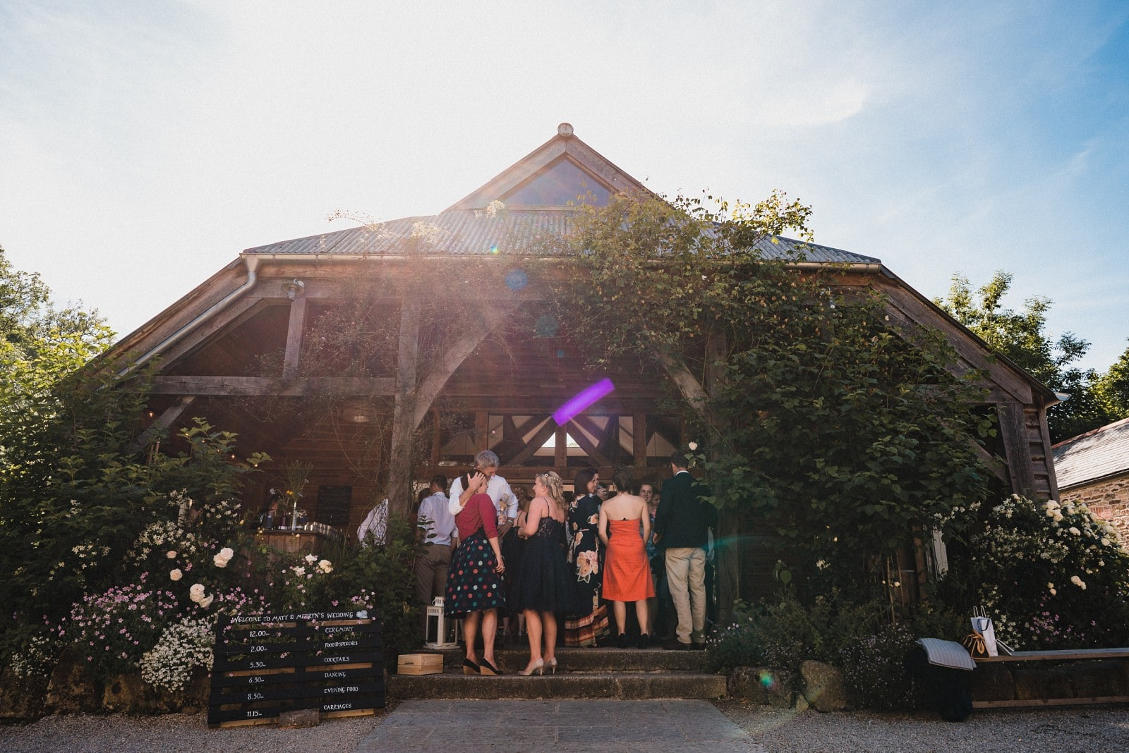 The Oak Barn at Nancarrow Farm on a wedding day in the sunshine
