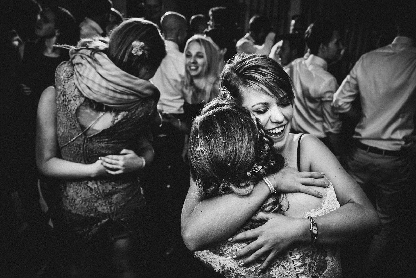A big hug on the dancefloor at a wedding at Nancarrow Farm