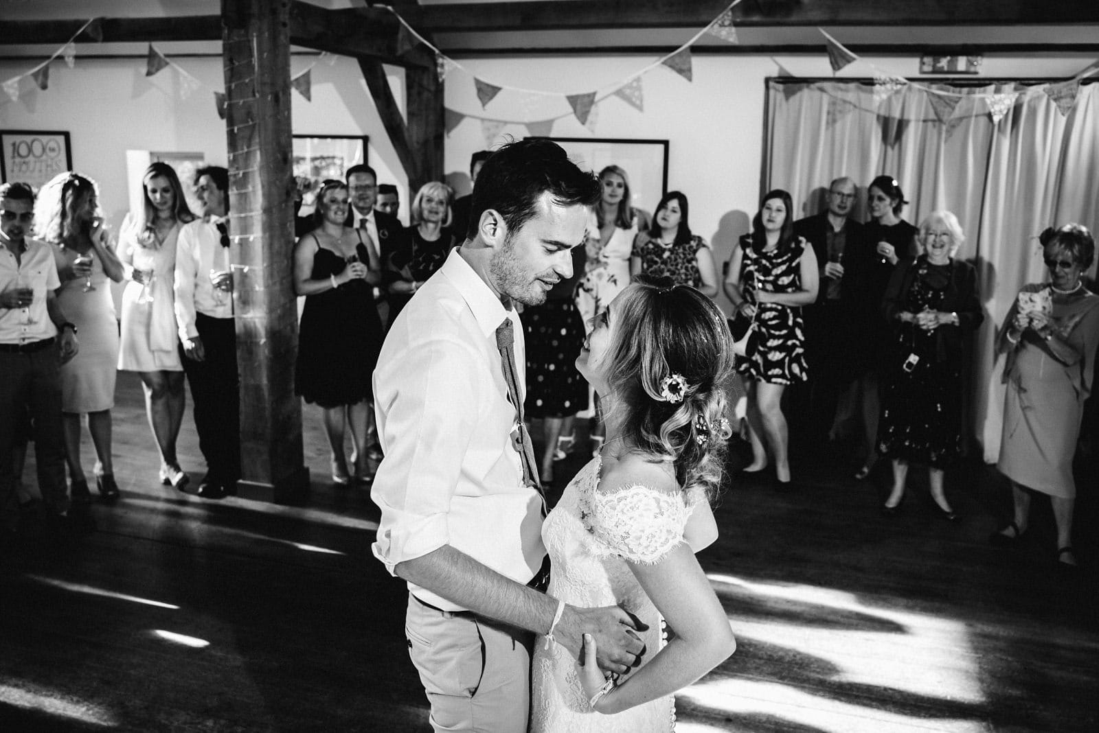 The wedding couple enjoying their first dance at Nancarrow Farm