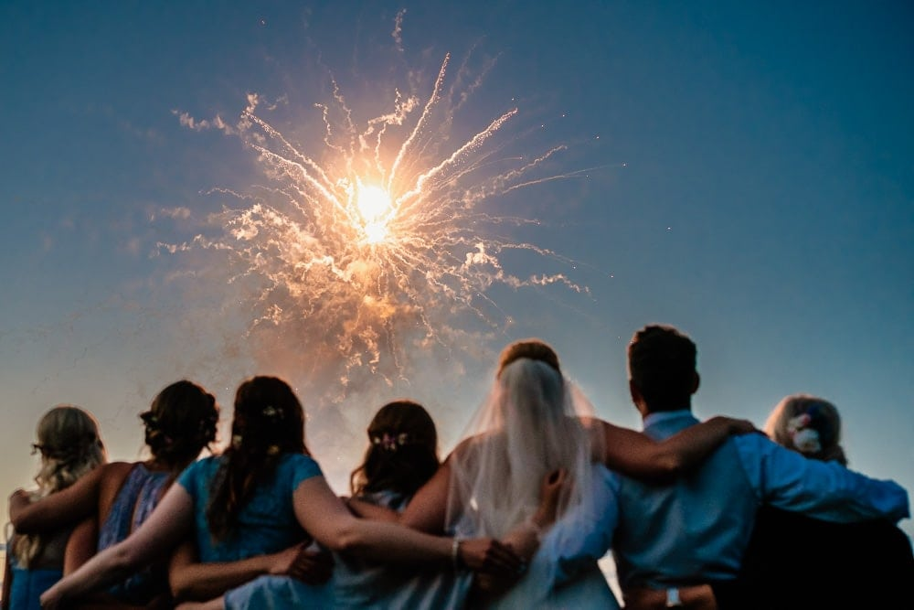 photograph of wedding fireworks in cornwall